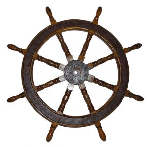 Large Wooden Ship Wheel