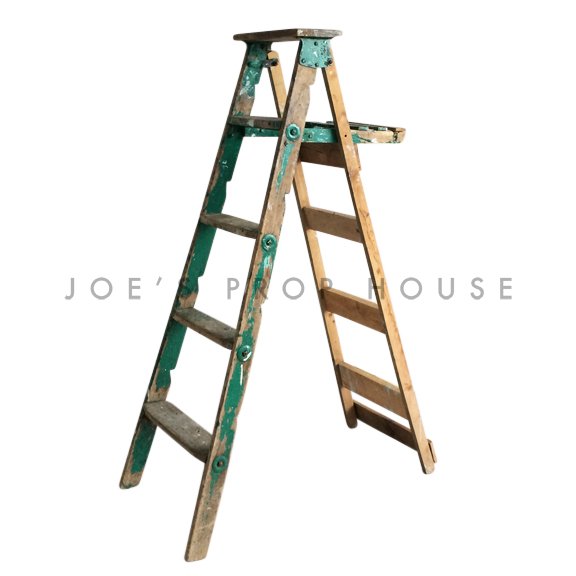 Vintage Distressed Wooden Ladder Green
