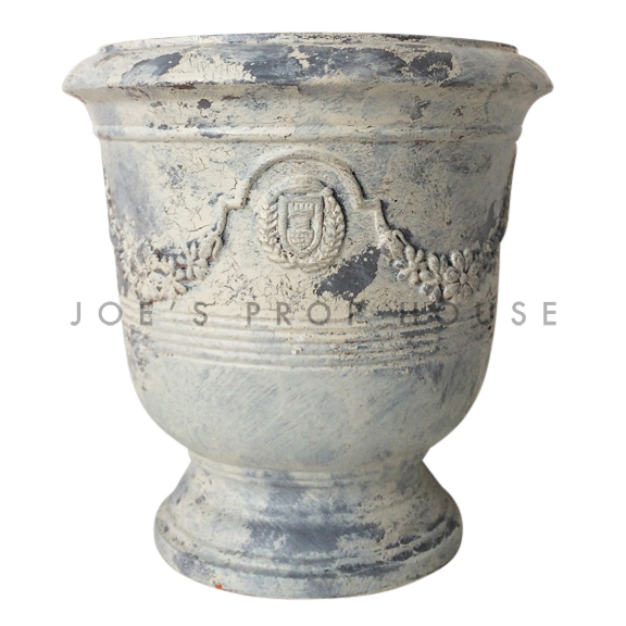 Distressed Round Pedestal Tuscan Crest Pot Ivory/Grey