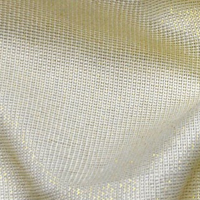 Ivory + Gold Metallic Thread VINTAGE LINEN Tablecloth Rectangular 96in x 156in