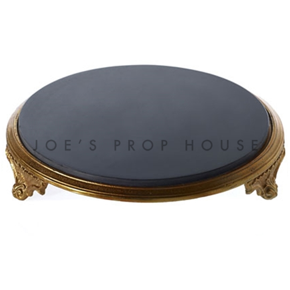 Round Grandeur Black Marble Top w/Gold Base Cakestand D14in