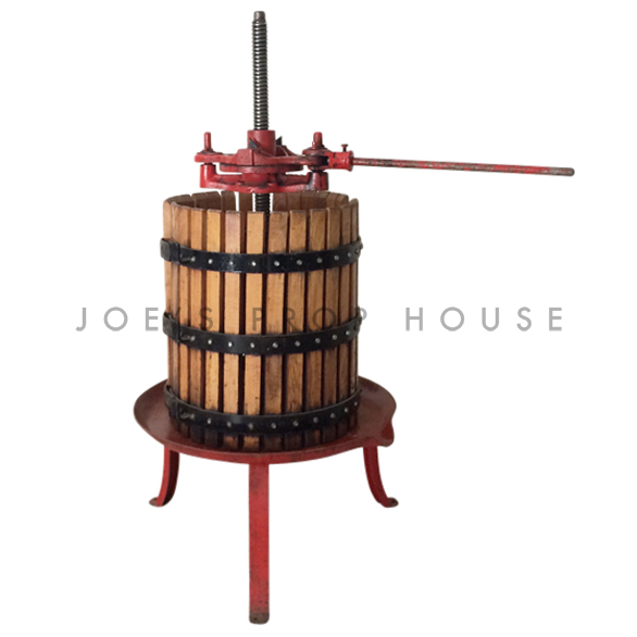 Large Manual Rachet Grape Press w/Wooden Basket Red