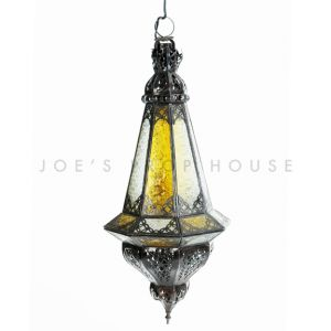 Filigree Colored Glass Lantern