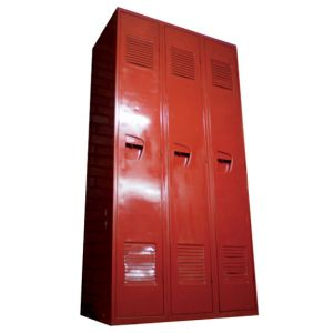 Three Metal Lockers Red