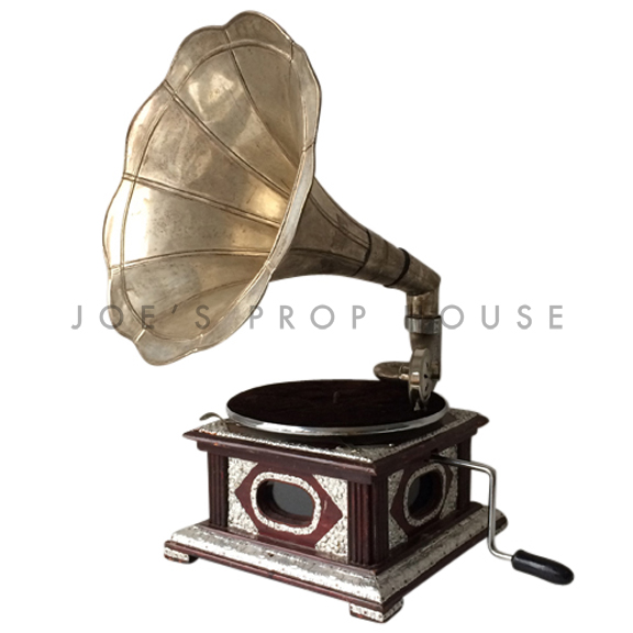Vintage Silver Cone Gramophone