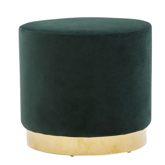 Madison Round Velvet Ottoman Emerald Green