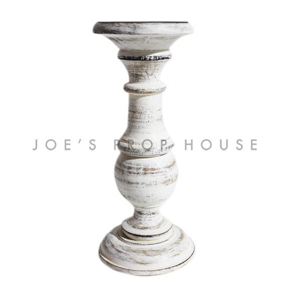 Whitewash Pillar Candlestick Large