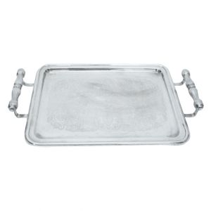 Laurel Engraved Rectangular Silver Serving Tray