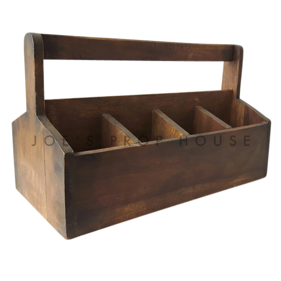 Gardeners Wooden Toolbox Caddy Brown