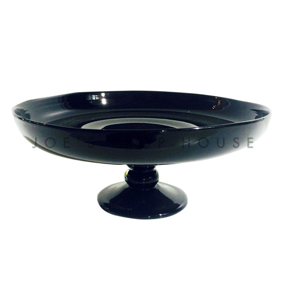 Nero Round Glass Cake Stand Large Black D12.5in