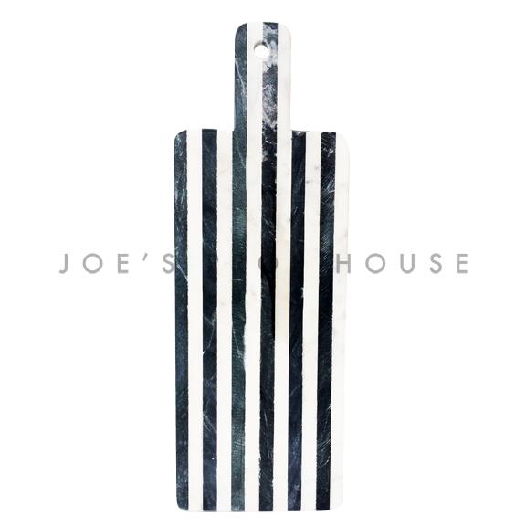 Plateau de service en marbre noir et blanc à rayures