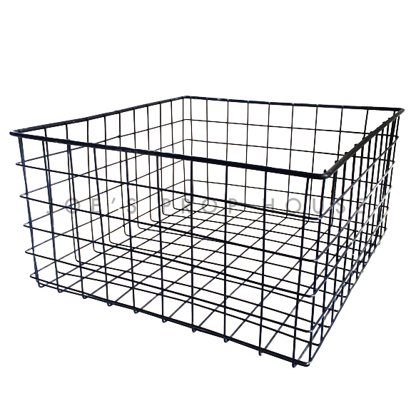 Grid Square Metal Basket Black
