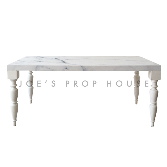 Bolster Faux Marble Top Rectangular Dining Table White