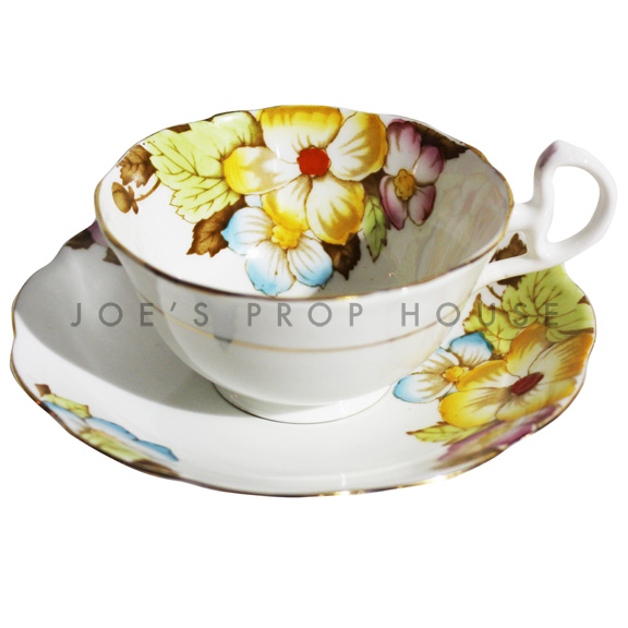 Mona Floral Teacup and Saucer