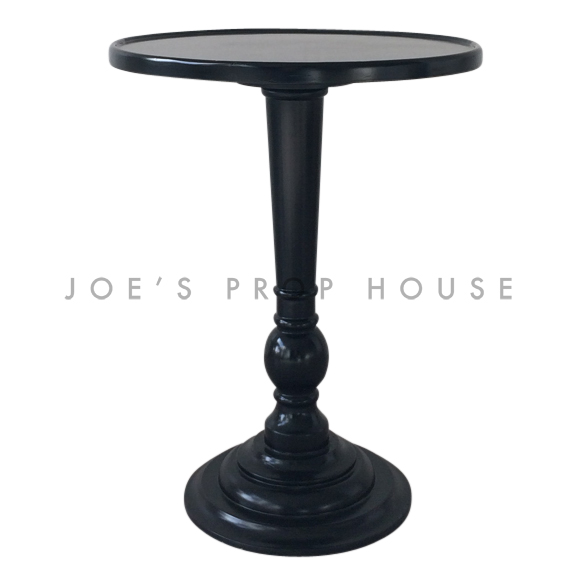 City Round Pedestal End Table Black PLEXI TOP