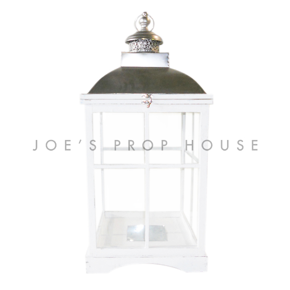 Square Wood Cottage Lantern White Large