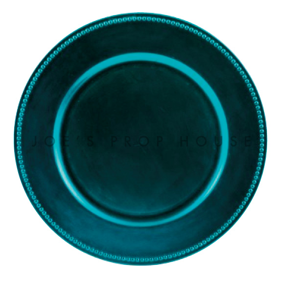 Peacock Blue Beaded Charger Plate