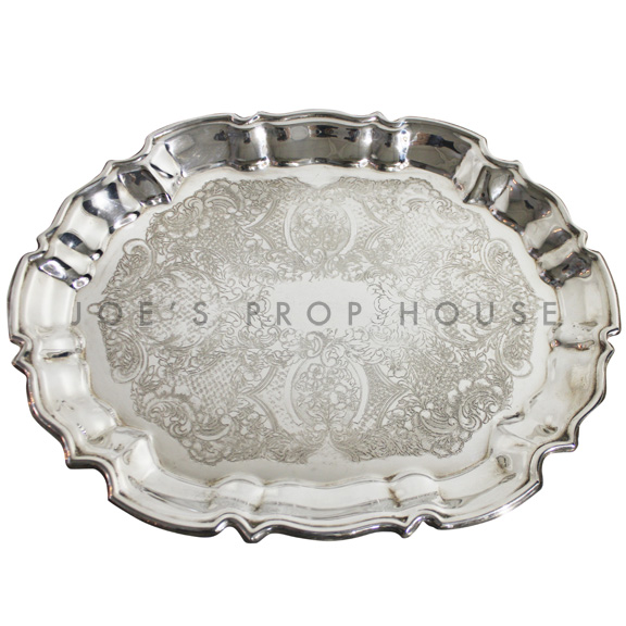 Diana Engraved Oval Scallop Silver Serving Tray