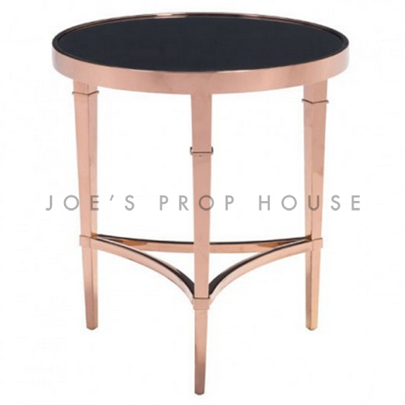 rose rond fin table noir vitrie
