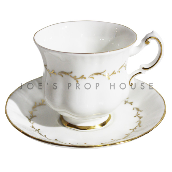 Emily Gold Leaf Teacup and Saucer