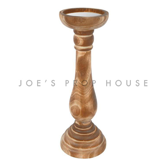 Neela Wood Pillar Candlestick Large