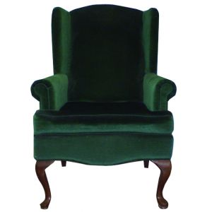 Velour Wing Back Chair Green