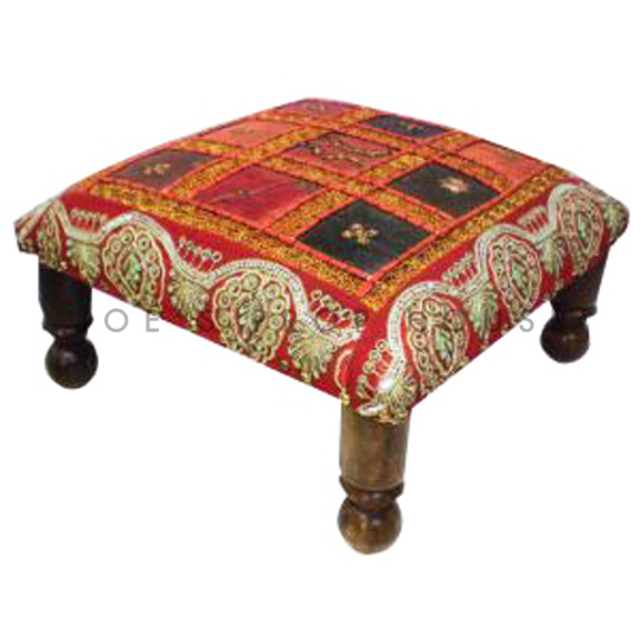 Redouane Patchwork Bench Red