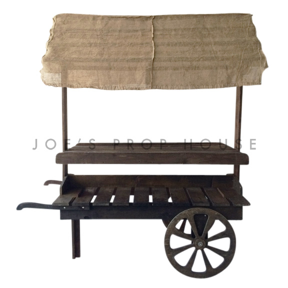Wooden Market Cart w/Burlap Awning