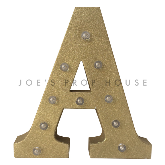 12in Gold Glitter Metal Marquee Letter A