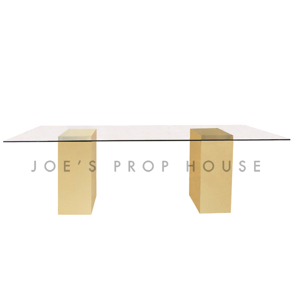 Jules Glasstop Rectangular Dining Table w/Gold Base L96in x D40in x H30in