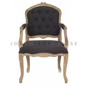Shabby Louis XV Armchair Charcoal