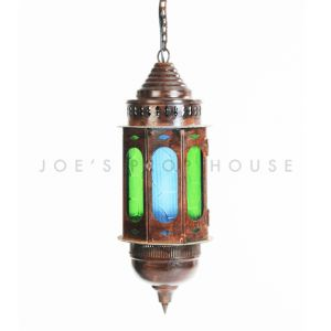 Luna Colored Glass Bronze Lantern