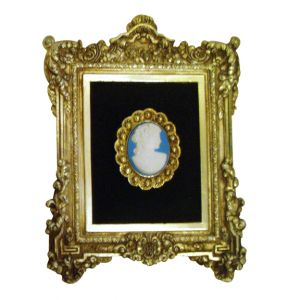 Gold Frame Blue Cameo Wall Art