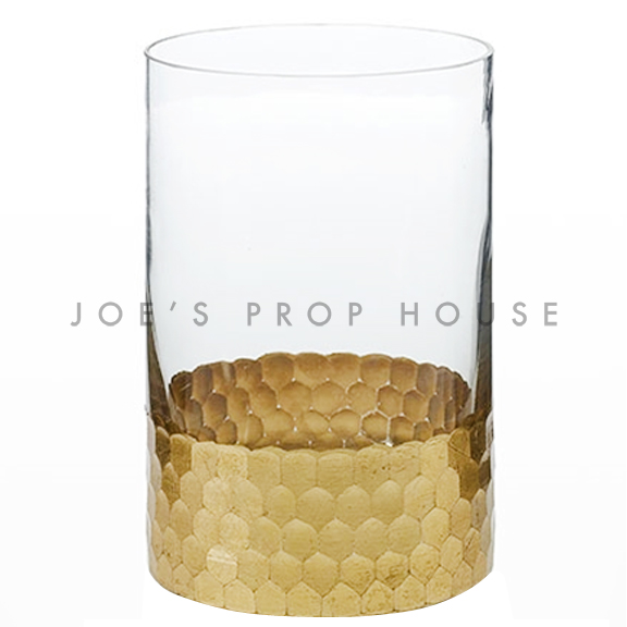 Clear Glass Cylinder Vase Hammered Gold Band H6in x D4in