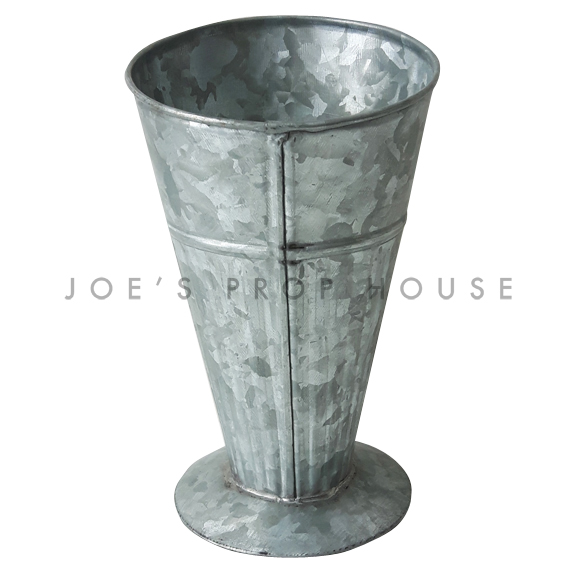 Tapered Galvanized Metal Utensil Container