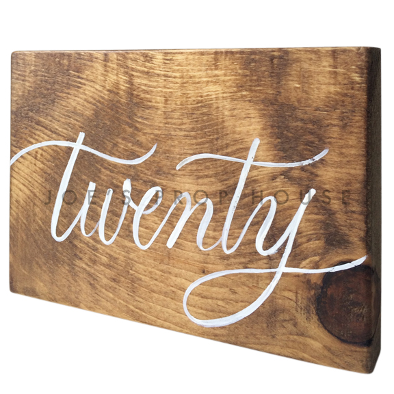 Wooden Table Number Block TWENTY W7in x H5in
