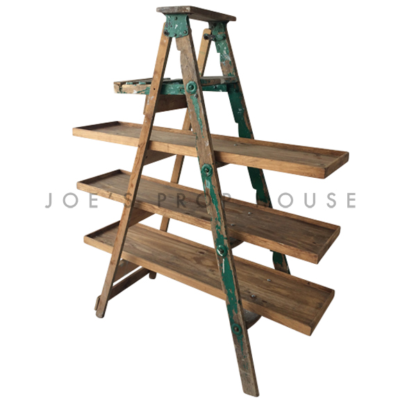 Vintage Distressed Wooden Painters Ladder GREEN w/Three Shelves