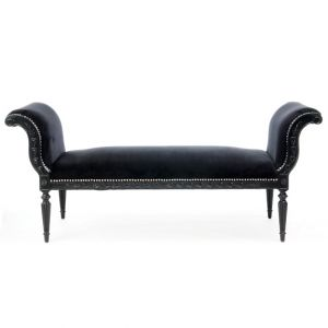 Moulin Noir Velour Bench Black W61in x D22.5in x H26.5in