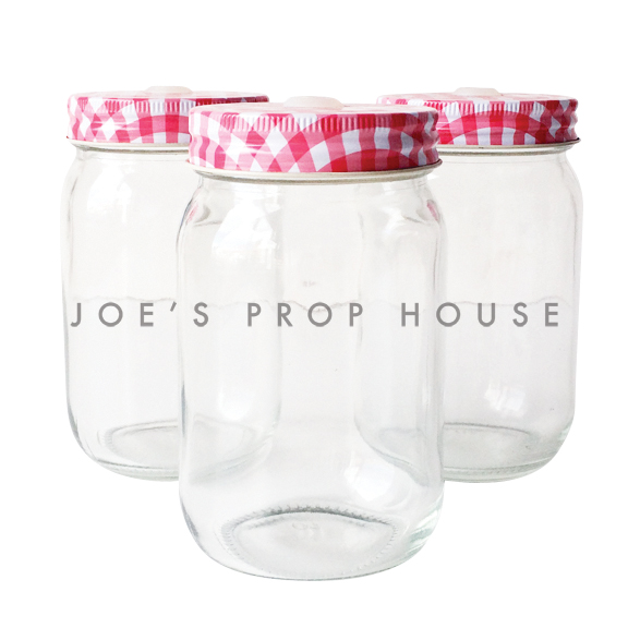 Red Gingham Clear Mason Drink Jar