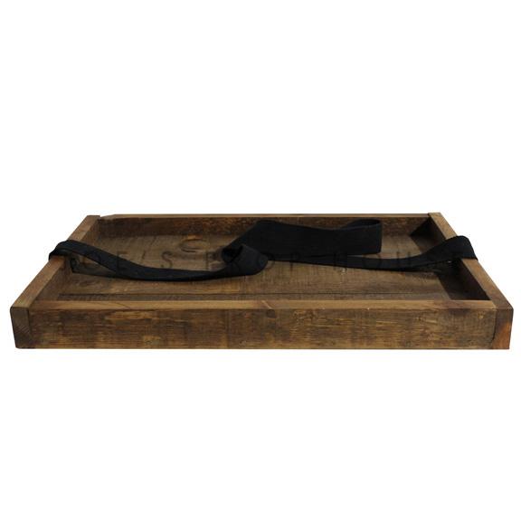 Plateau à cigares en bois avec sangle, brun