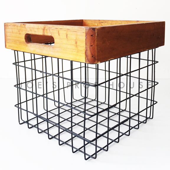 Grid Square Metal Basket w/Wood Trim