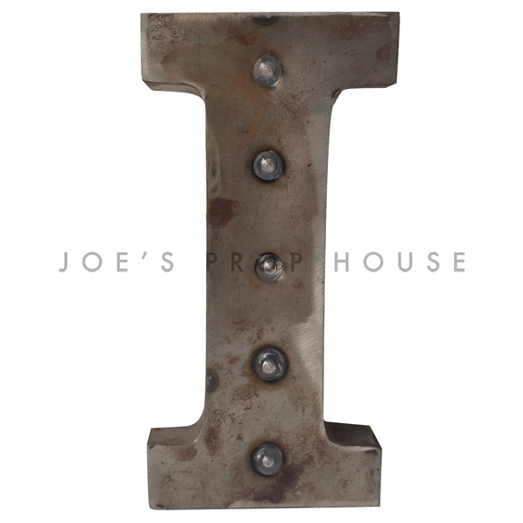 12in Galvanized Metal Marquee Letter I