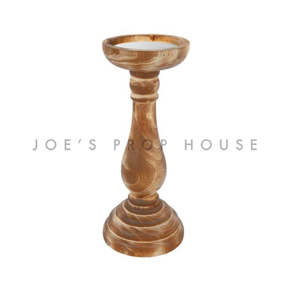 Neela Wood Pillar Candlestick Small