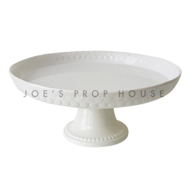 Support de gâteau piédestal en porcelaine ronde Lacey, blanc