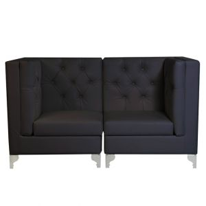 Moulin Noir Tufted Velour Sectional Loveseat Black