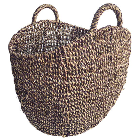 Hewlitt Round Wicker Basket w/Handles