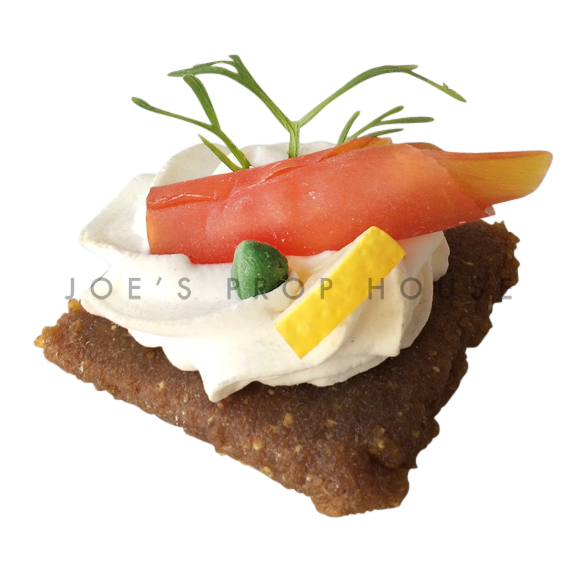 Gravlax Cracker w/Smoked Salmon and Cream Cheese Food Prop