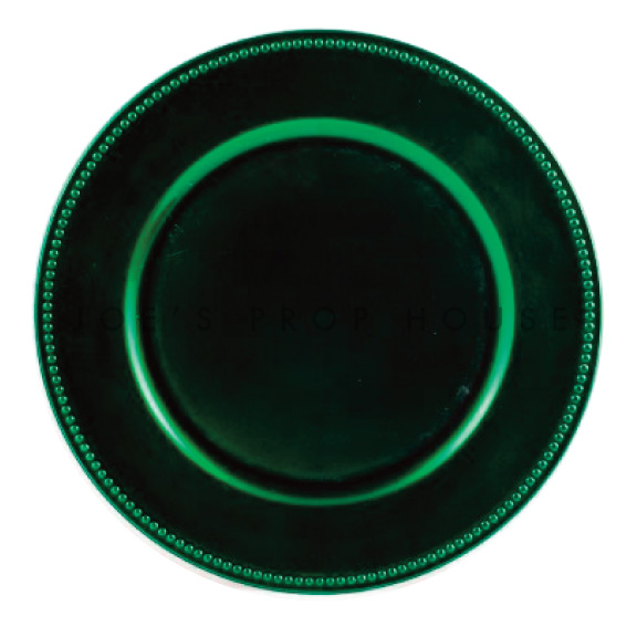 Forest Green Beaded Charger Plate