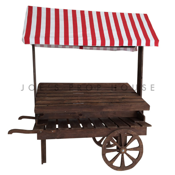 Wooden Market Cart w/Striped Red and White Awning