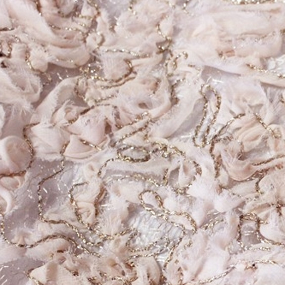 Blush Fil D'Or CHIFFON OVERLAY Tablecloth Round 132in